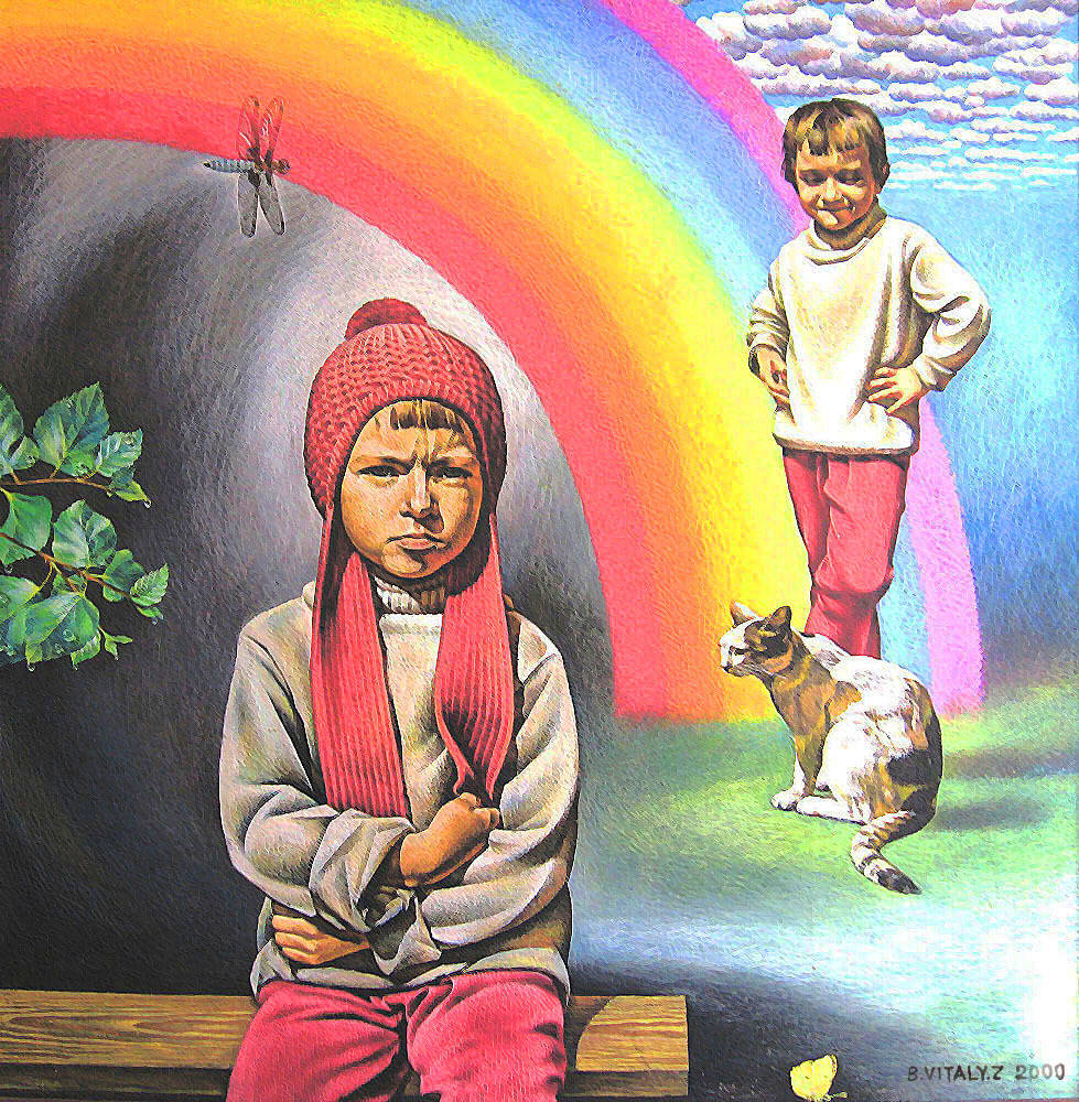 Rainbow, Children and Apples.