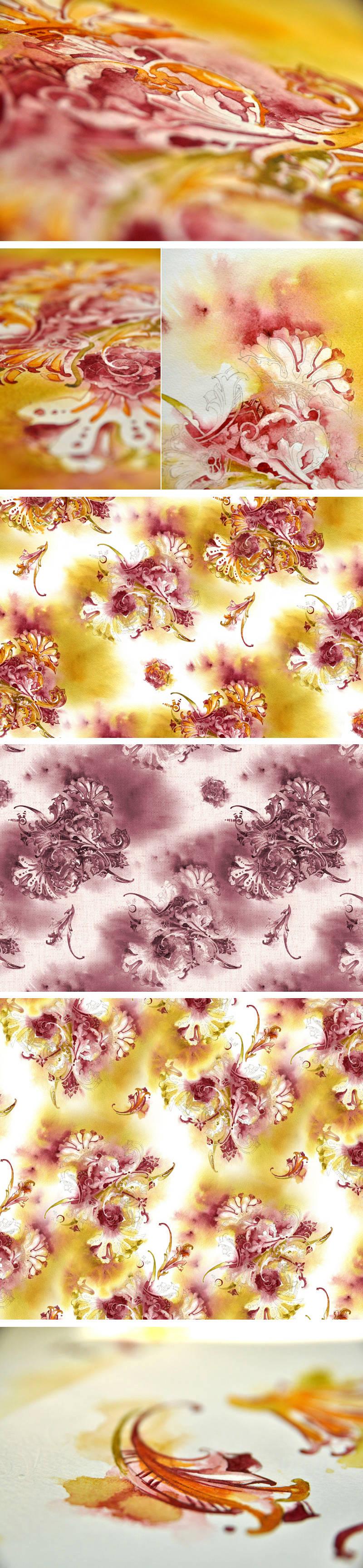 Ornamental watercolor pattern