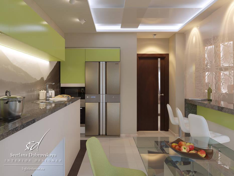 Гостиная и кухня в небольшой квартире.