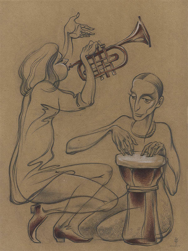 """Improvising"" paper,pencil,sepia,white chalk  41x31  2014"
