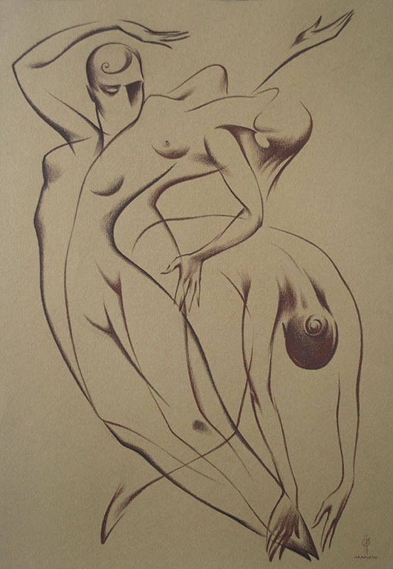 """Not only JAZZ-2. Dance""  paper,sepia 50x35 2014"