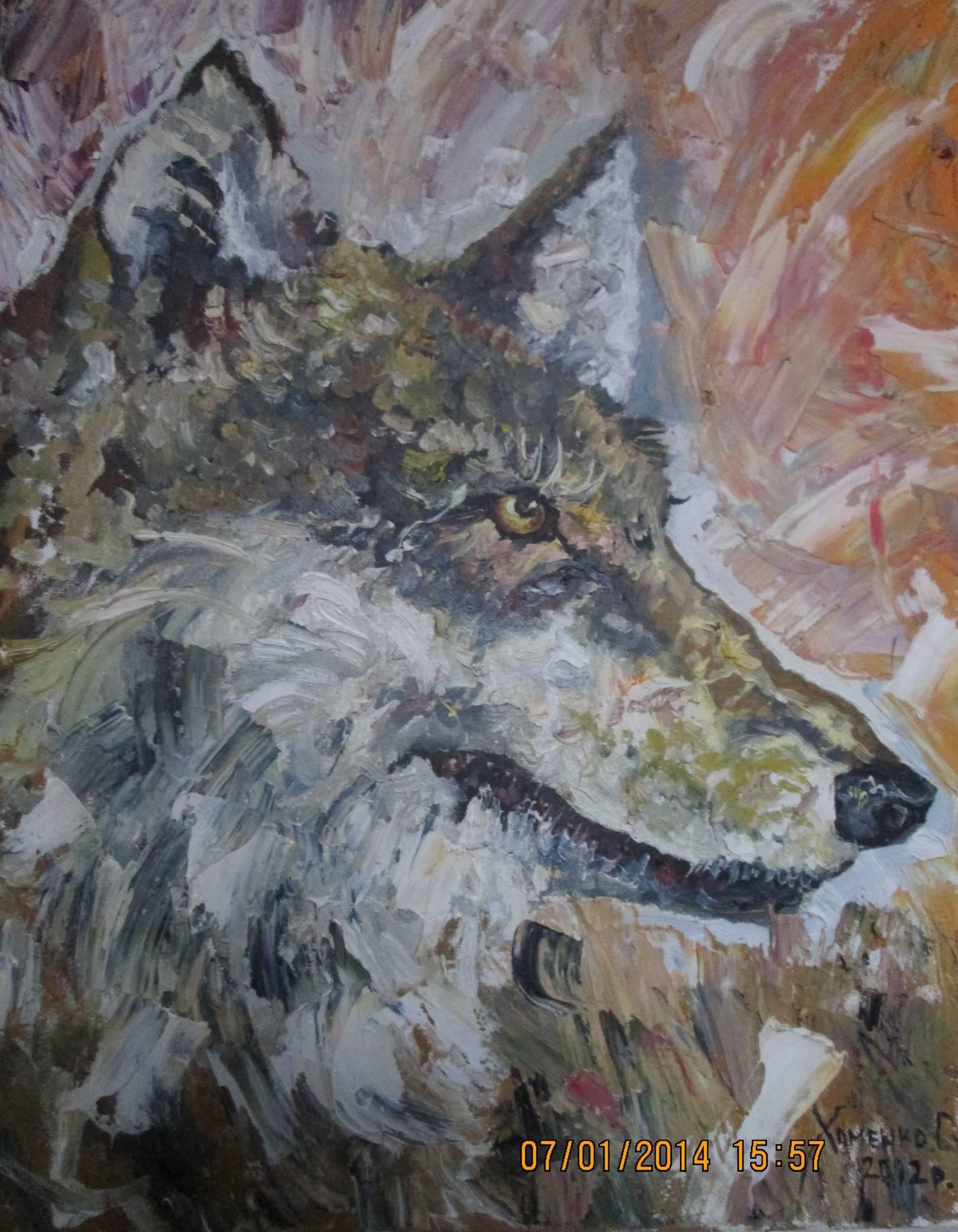 Одинокая волчица. Живопись.