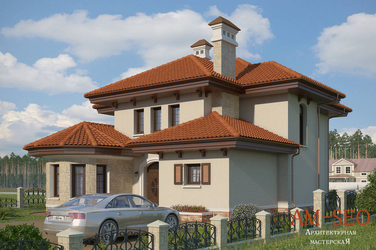 """Проект загородного дома в средиземноморском стиле в поселке """"Маленькая Италия"""""""