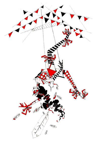 """""""Трагедия на манеже"""". Иллюстрация к конкурсу """"Цирк Судьбы"""" по новелле Олега Роя. Формат А3 297х420мм. Бумага. Материал - тушь, гелевая ручка."""