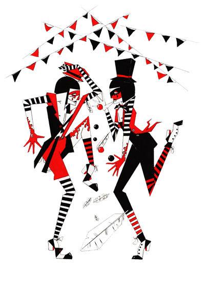 """""""Соперничество"""". Иллюстрация к конкурсу """"Цирк Судьбы"""" по новелле Олега Роя. Формат А3 297х420мм. Бумага. Материал - тушь, гелевая ручка."""