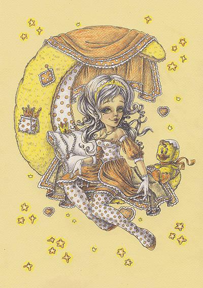 """""""Принцесса"""". Формат А4 29,7 Х 21см. Бумага для пастели, цветные карандаши"""