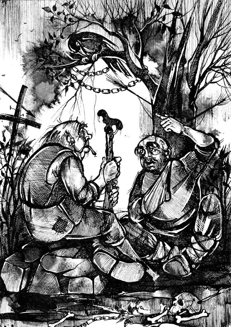 """Иллюстрация к книге рассказов А.Краузе """"Воспоминания"""" Тушь, перо."""