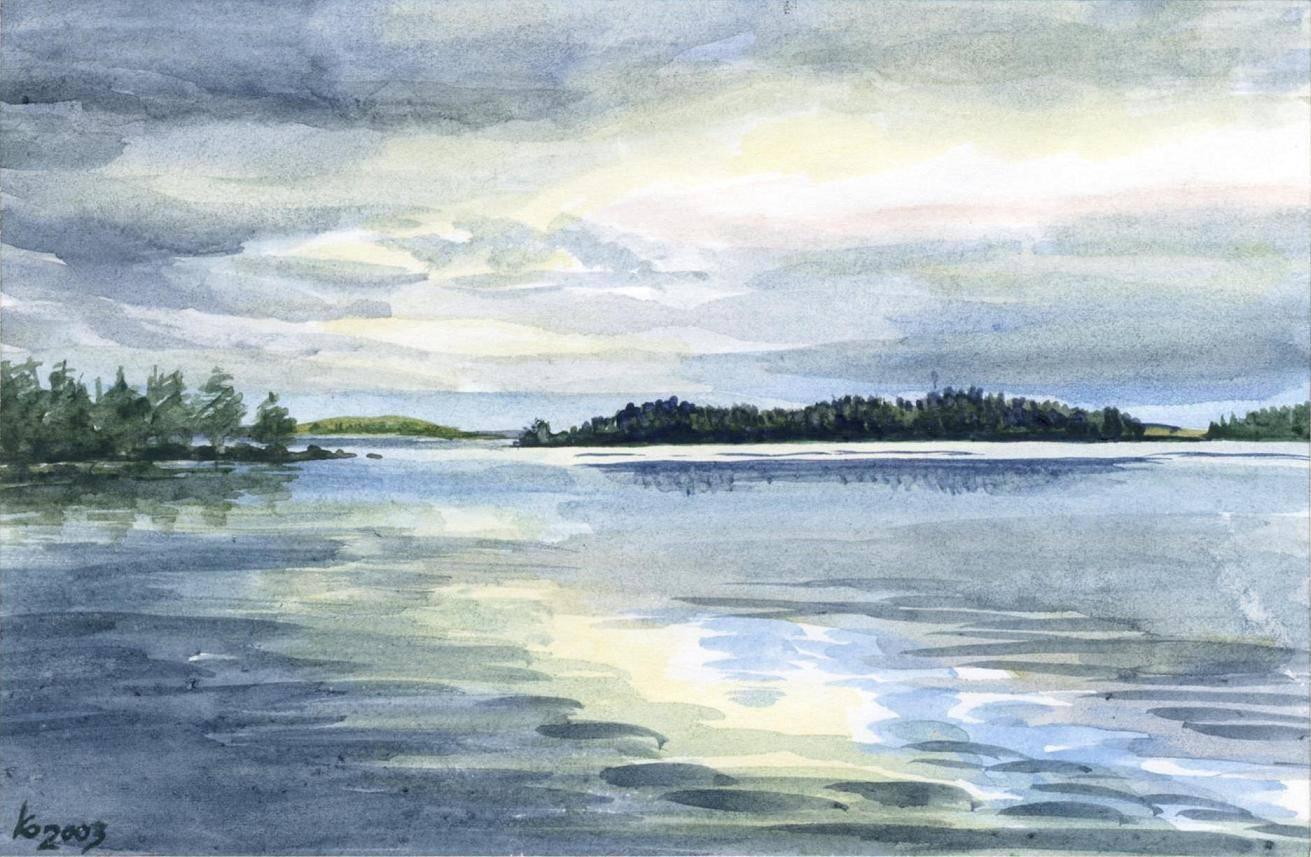 пейзажи Белого моря. Акварель.