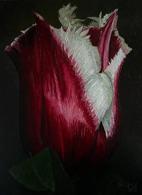 Красный тюльпан, 70х90 см., масло, холст, 2013