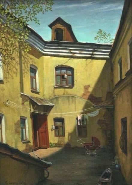 Весенний дворик. холст/масло 40см x 55см 2005 г.