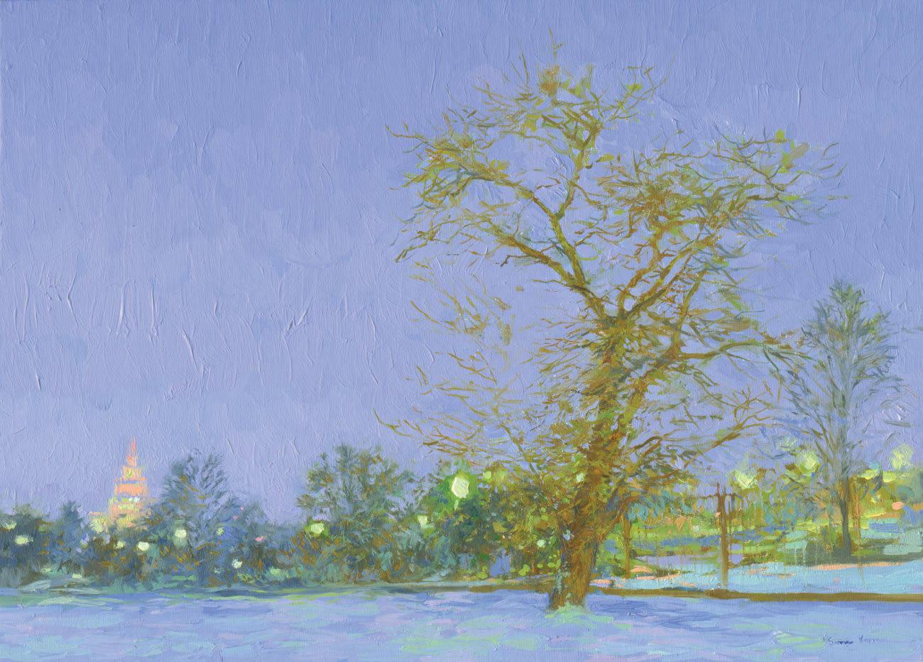 Krymskaya quay. 2006. Canvas on cardboard, oil. 25 x 35 cm.