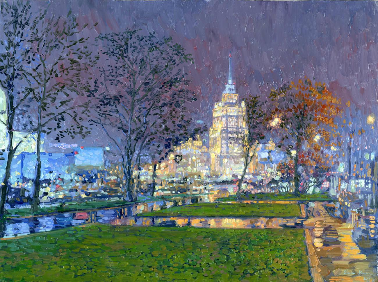 Night Moscow. Ukraina Hotel. Of 2013. Oil on canvas. 30 x 40 cm