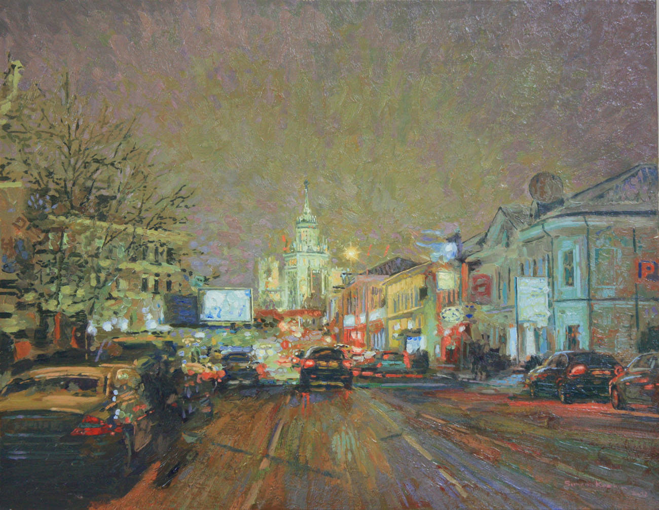 Verhnaya Radishchevskaya street at night. 2012. Oil on canvas. 40 x 50 cm.