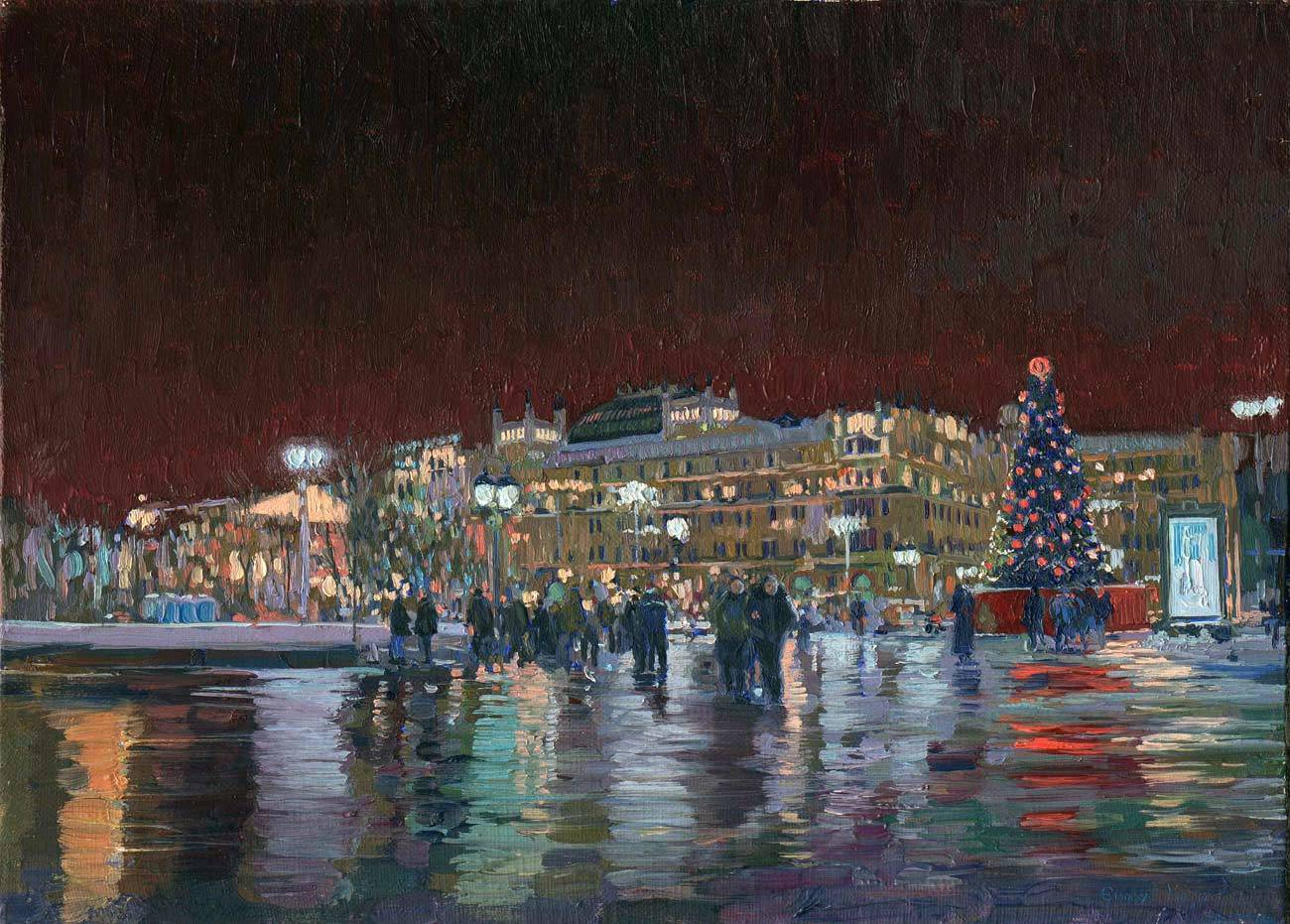 New Year in Moscow. Hotel Metropol. 2005. Canvas, oil. 35 x 25 cm.