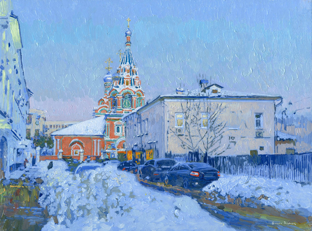 Brodnikov alley. The Church of St. Gregory Bishop Neokesariysky in Derbitsah. Of 2013. Oil on canvas on cardboard, oil. 30 x 40 cm.