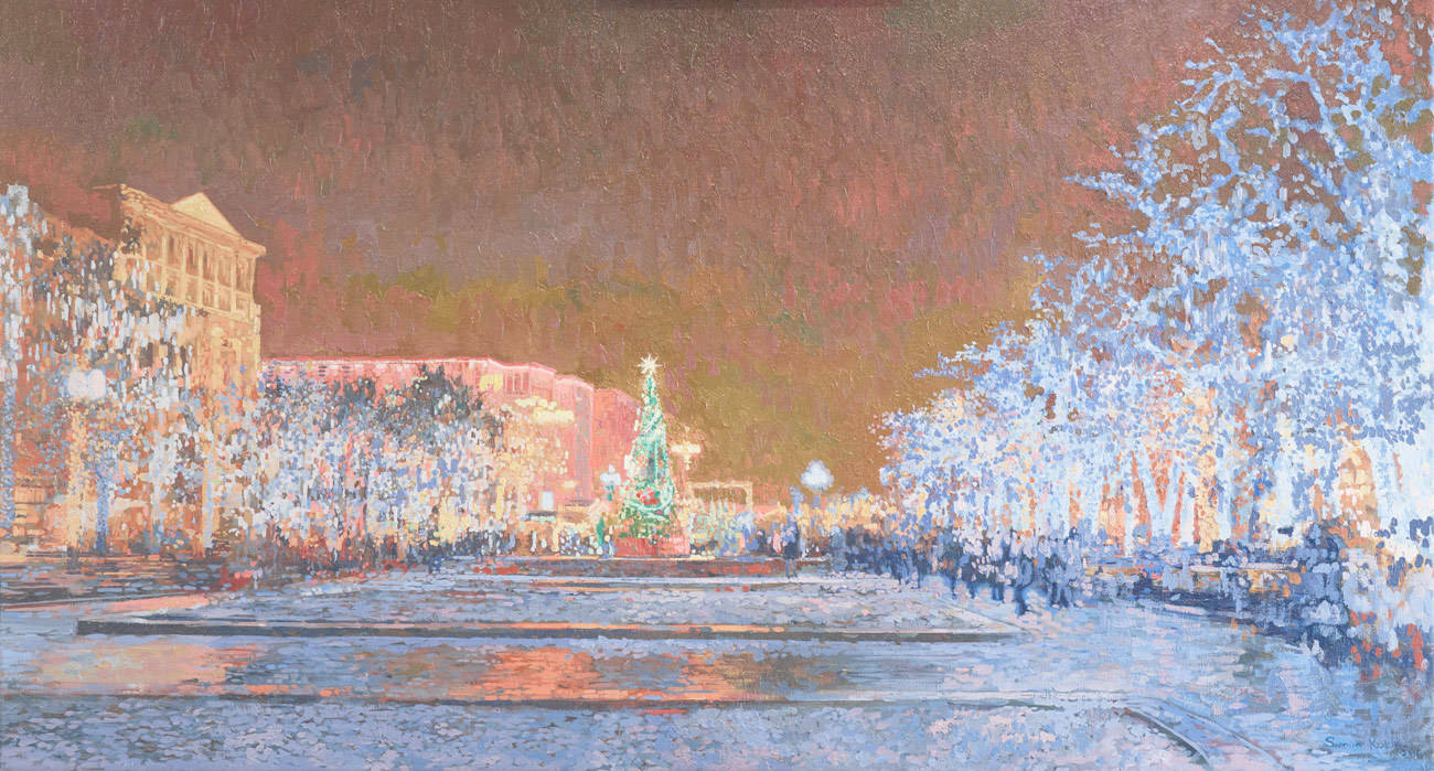 View on Pushkin Square with Big Bronnaya street. New Year. 2014. Oil on canvas. 60 x 110 cm