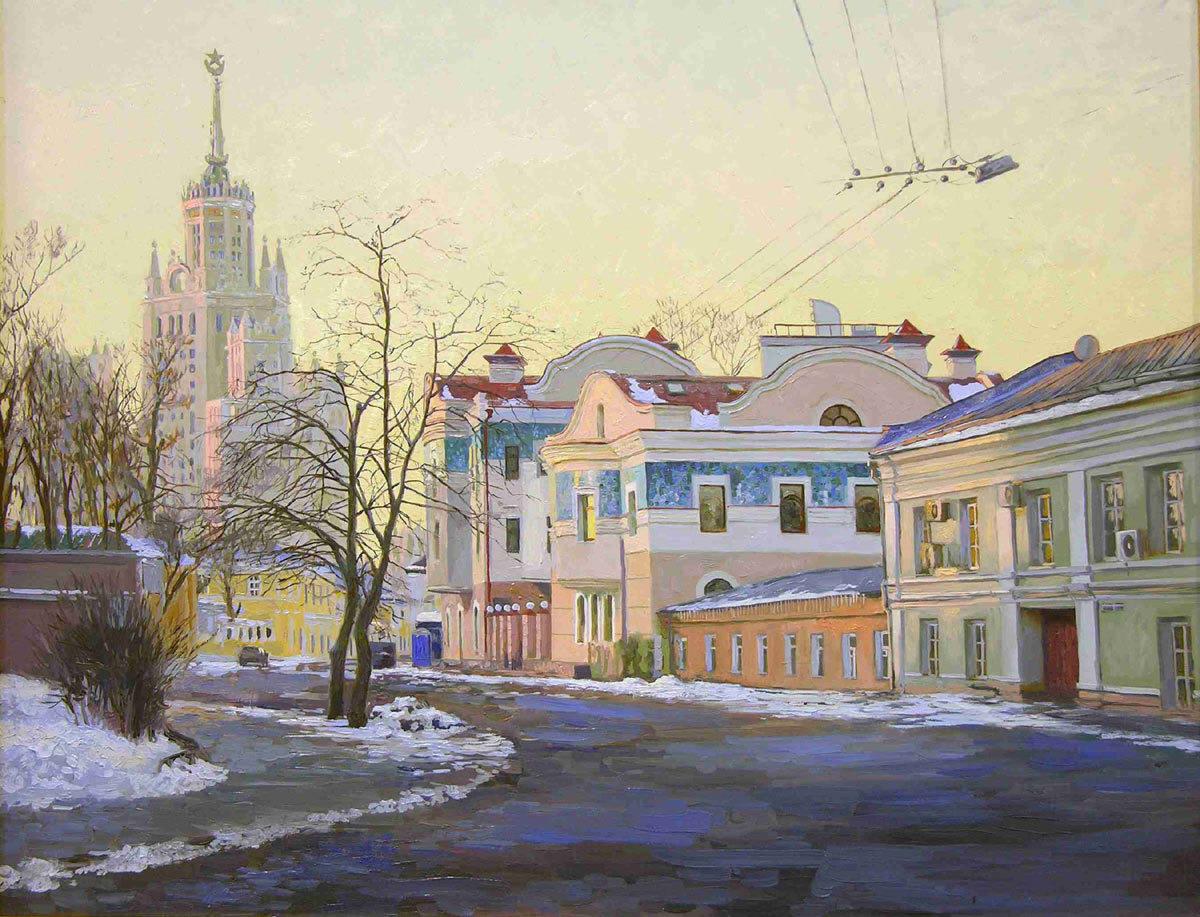 Goncharnaya street. 2004. Canvas, oil. 55 x 70 cm.