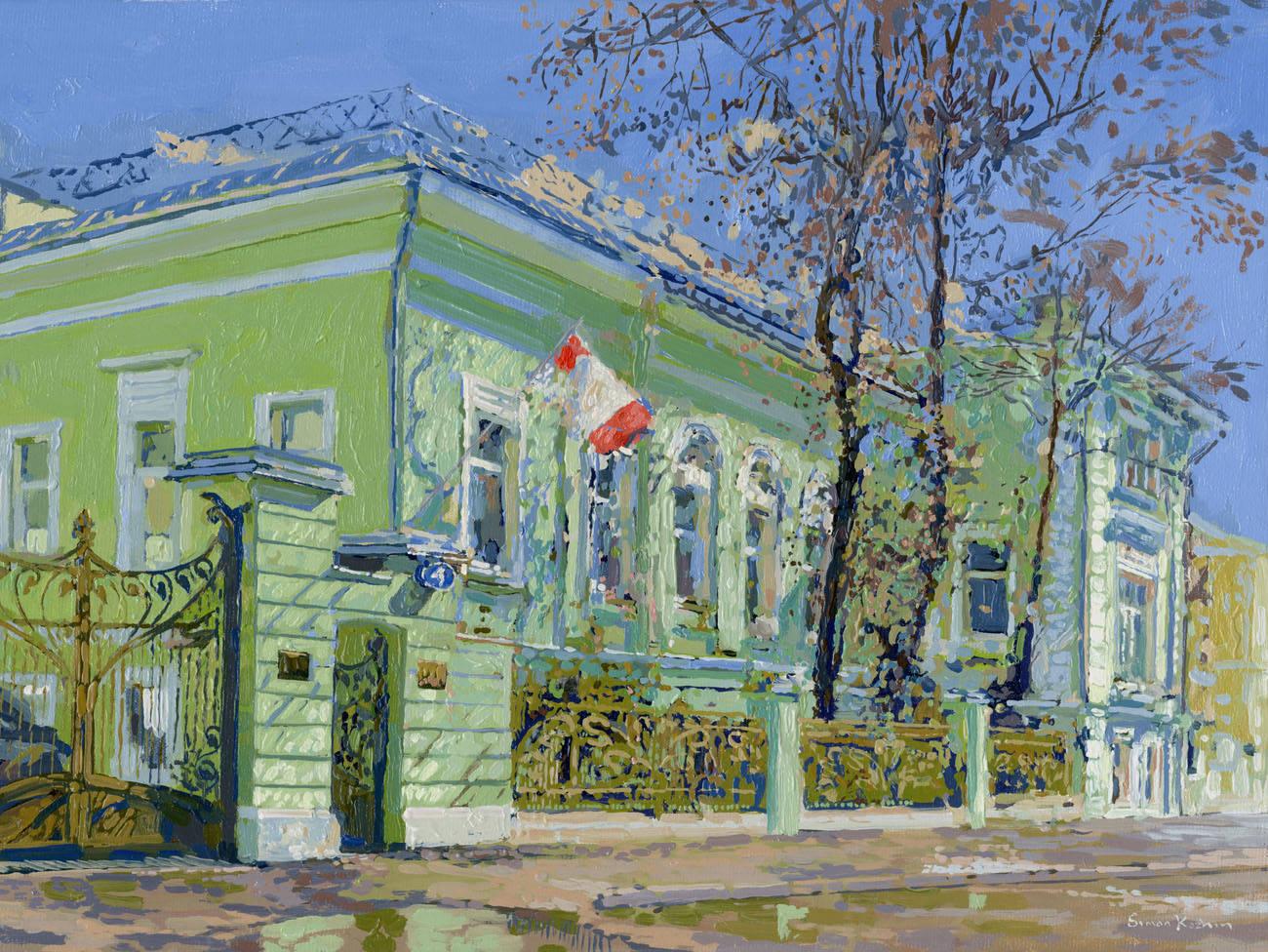 Dmitry Nikolayevich Begichev's estate. Starokonyushenny lane the house 4. 2011. Canvas on cardboard, oil. 25 x 35 cm