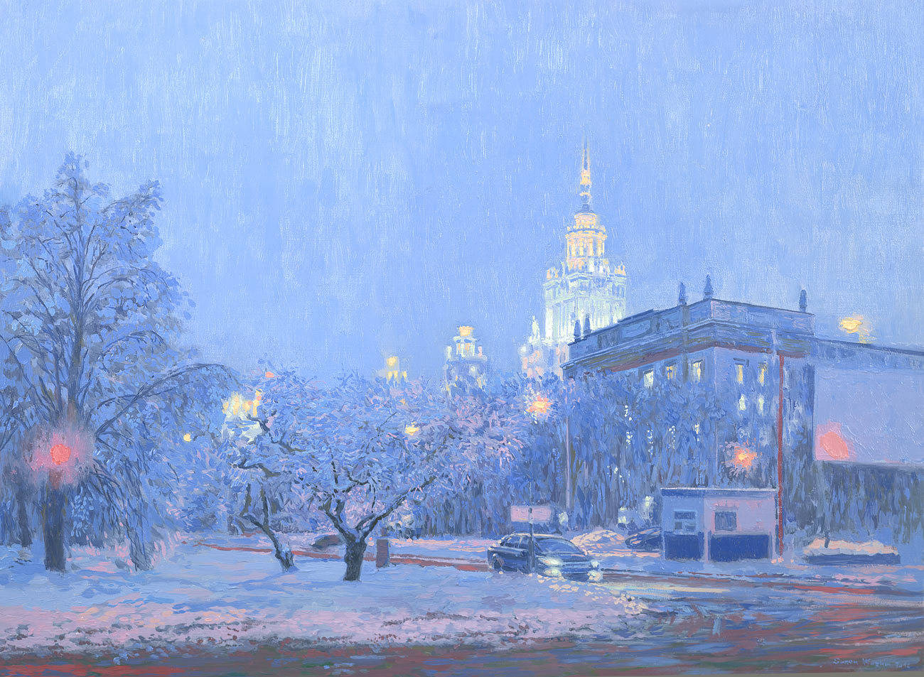 View on Moscow State University building. Twilight. 2012. Oil on canvas. 45 x 62.5 cm.