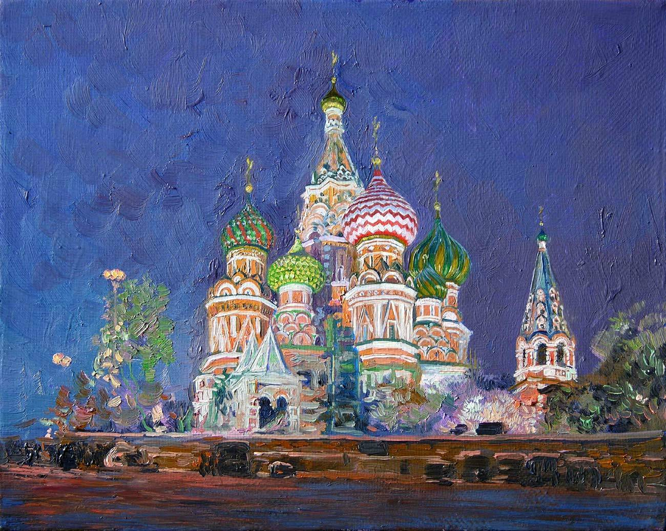 Cathedral of Saint Basil the Blessed. 2005. Canvas, oil. 24 x 30 cm.
