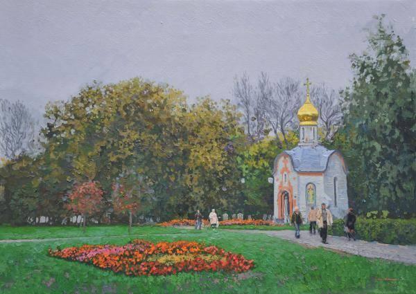 Chapel prince St. Daniila Moscow. 2008. Canvas, oil. 50 x 70 cm.