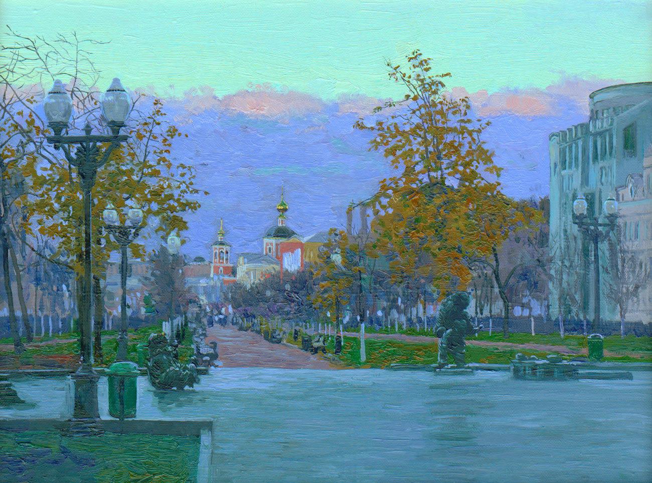 Tsvetnoy Boulevard. 2005. Canvas, oil. 30 x 40 cm.