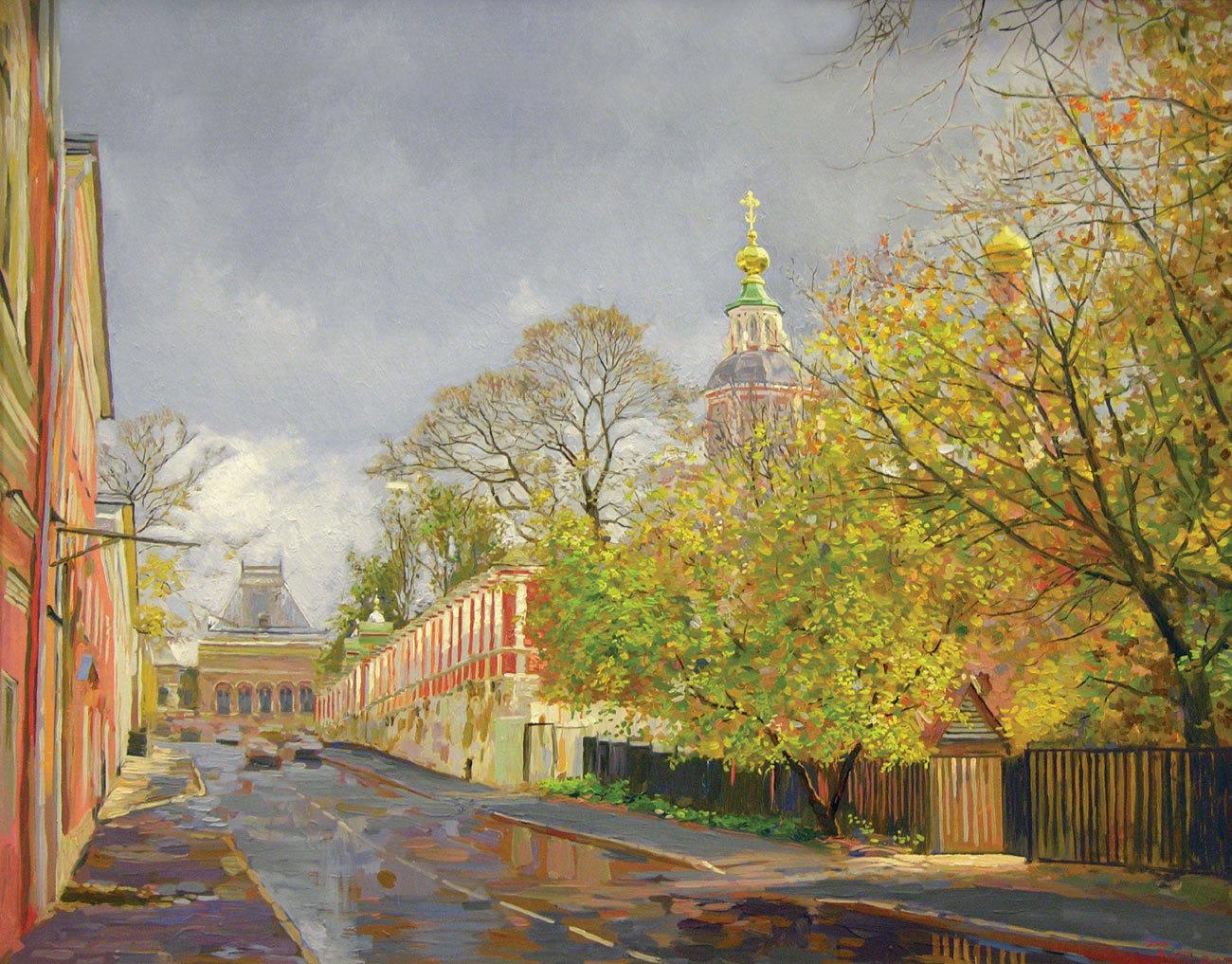 Yakimanskii lane. Church of St. John the Warrior. Moscow. Autumn. 2004. Oil on canvas. 55 x 75 cm.
