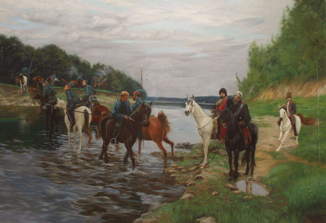 Rubicon. Crossing the River by Denis Davydov Squadron. 1812. 2001. Canvas, oil. 145 x 215 cm.