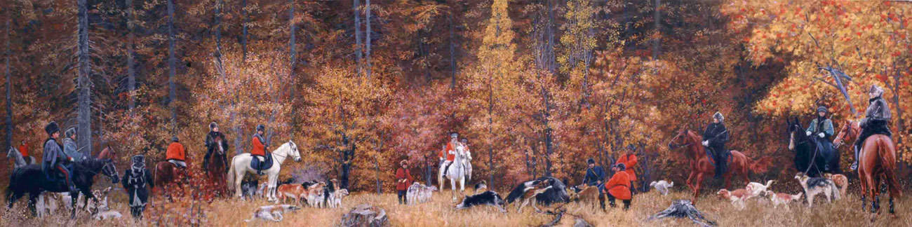Russian Hunting. 2007. Canvas, oil. 50 x 200 cm.