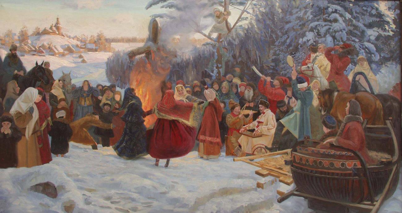 Shrovetide. Farewell to Winter. XVII Century. 2001. Canvas, oil. 120 x 205 cm.