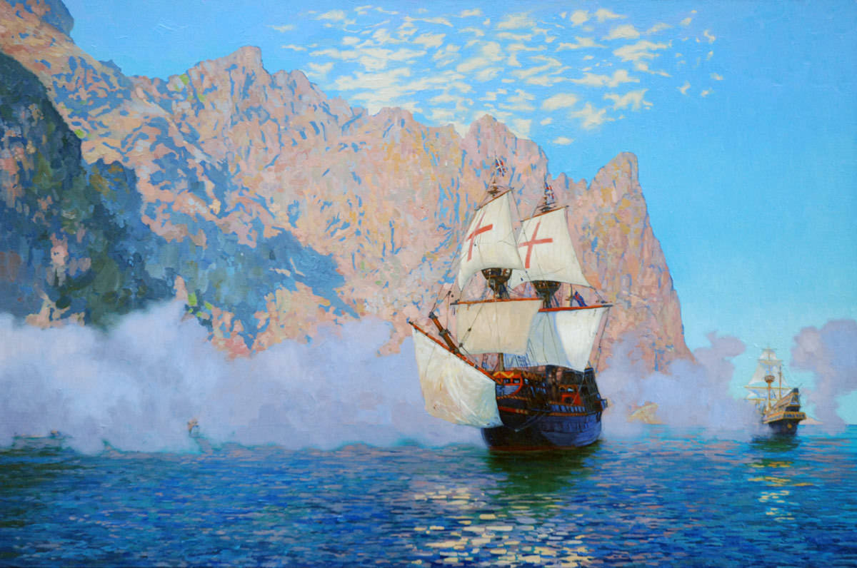 """New Albion. Sir Francis Drake's ship """"Golden hind"""". 2008. Canvas, oil. 60 x 90 cm."""