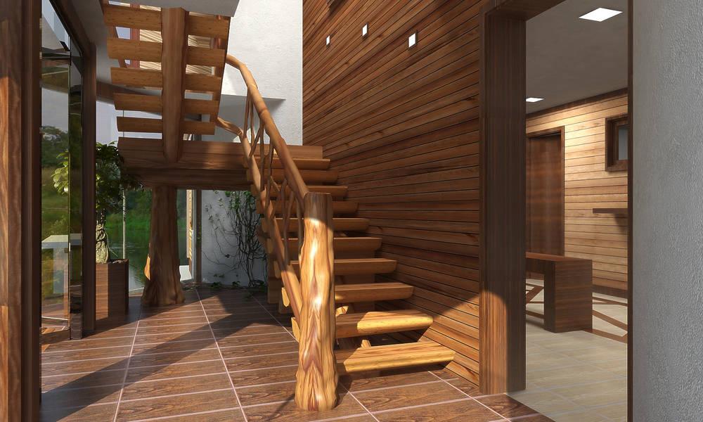 Лестница в банном комплексе