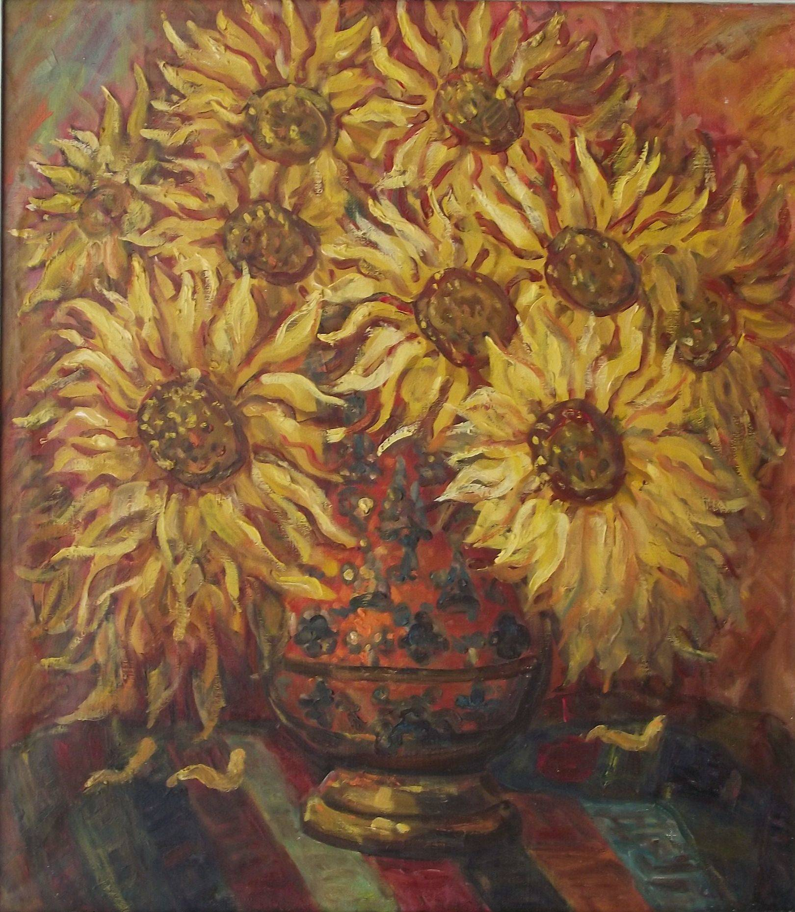 sunflowers are in the vase of х.м1996г. 90*110