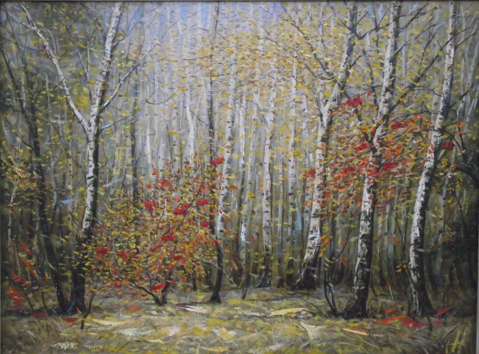 Осень. Рябина в лесу 2000г. х.м 50*70