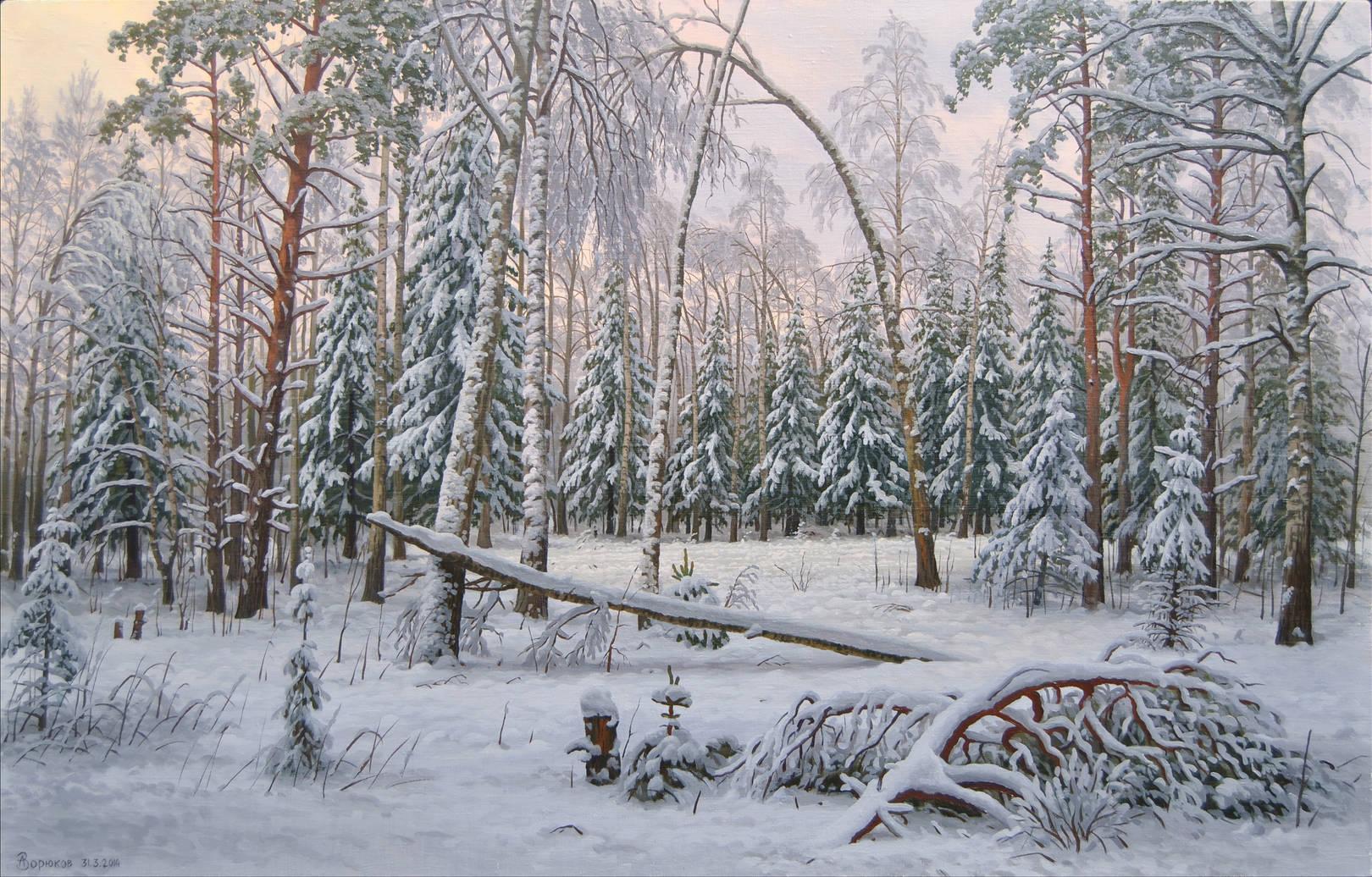 А.ЗОРЮКОВ. Снежный лес. 2014 г.; холст/масло; 80х126 см