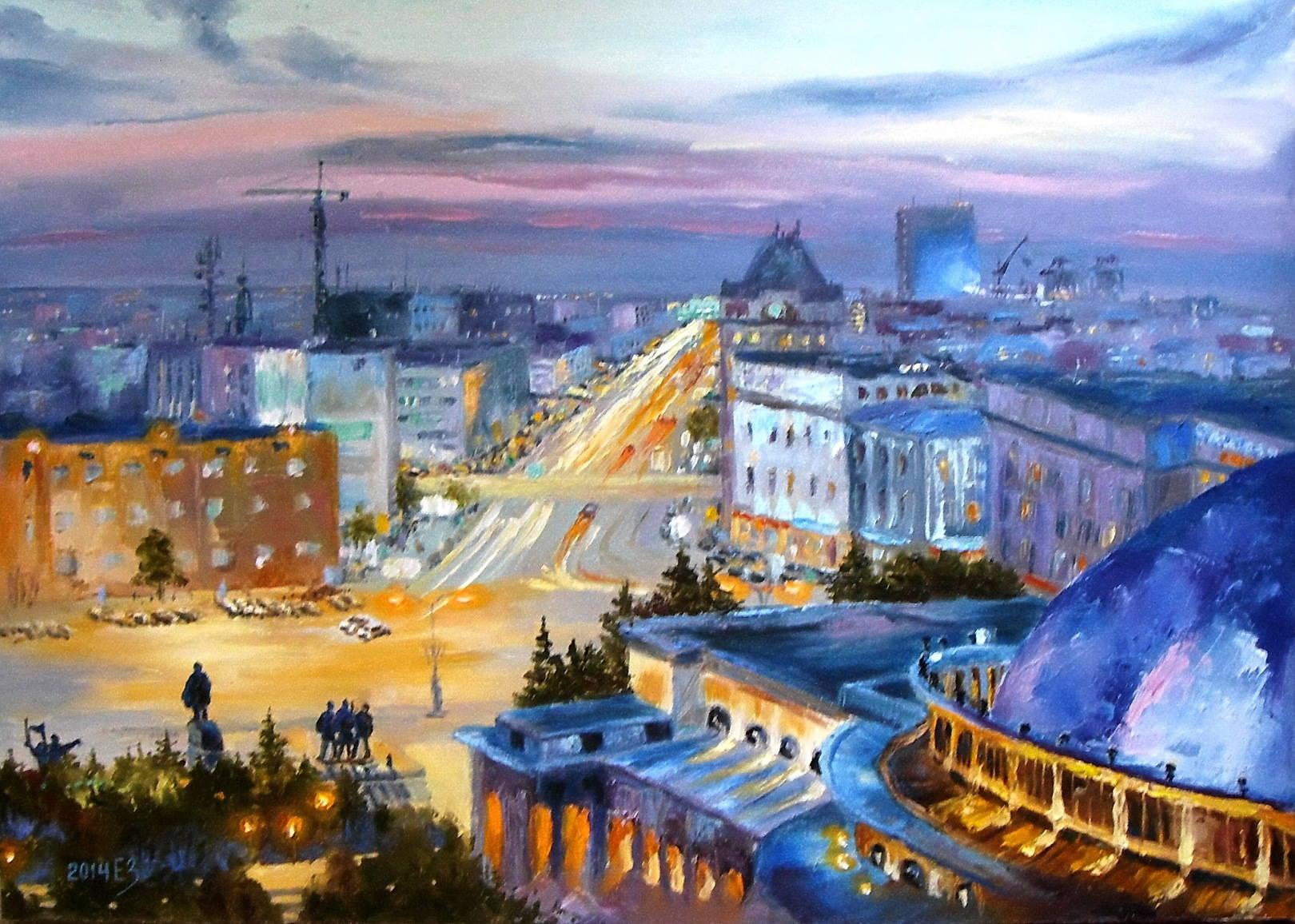 Шумный город спать не хочет. 50*70 см, холст, холст, 2014, Новосибирск