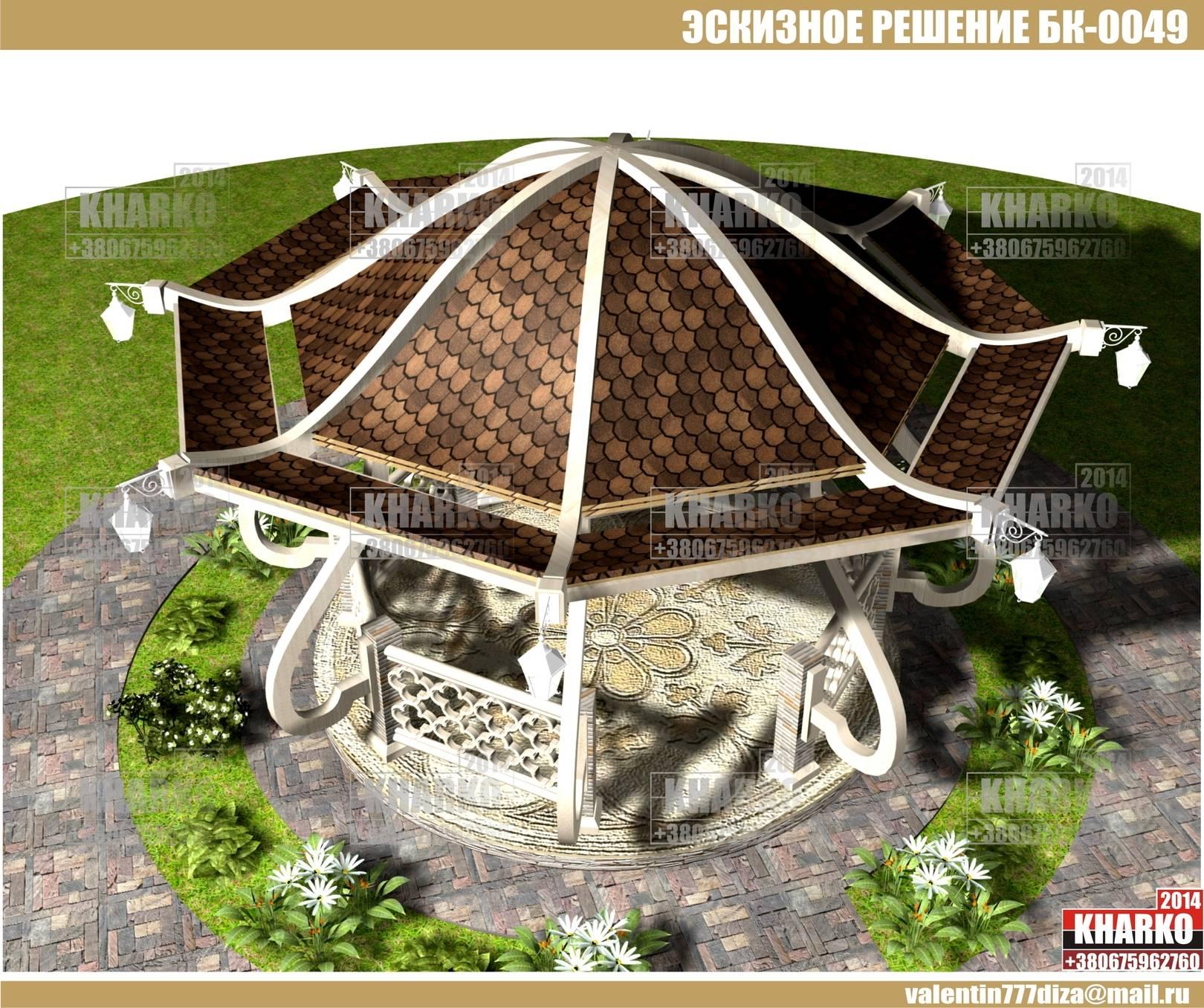 проект беседки БК-0049 (ЭТНО), project pergola, gazebo, shed