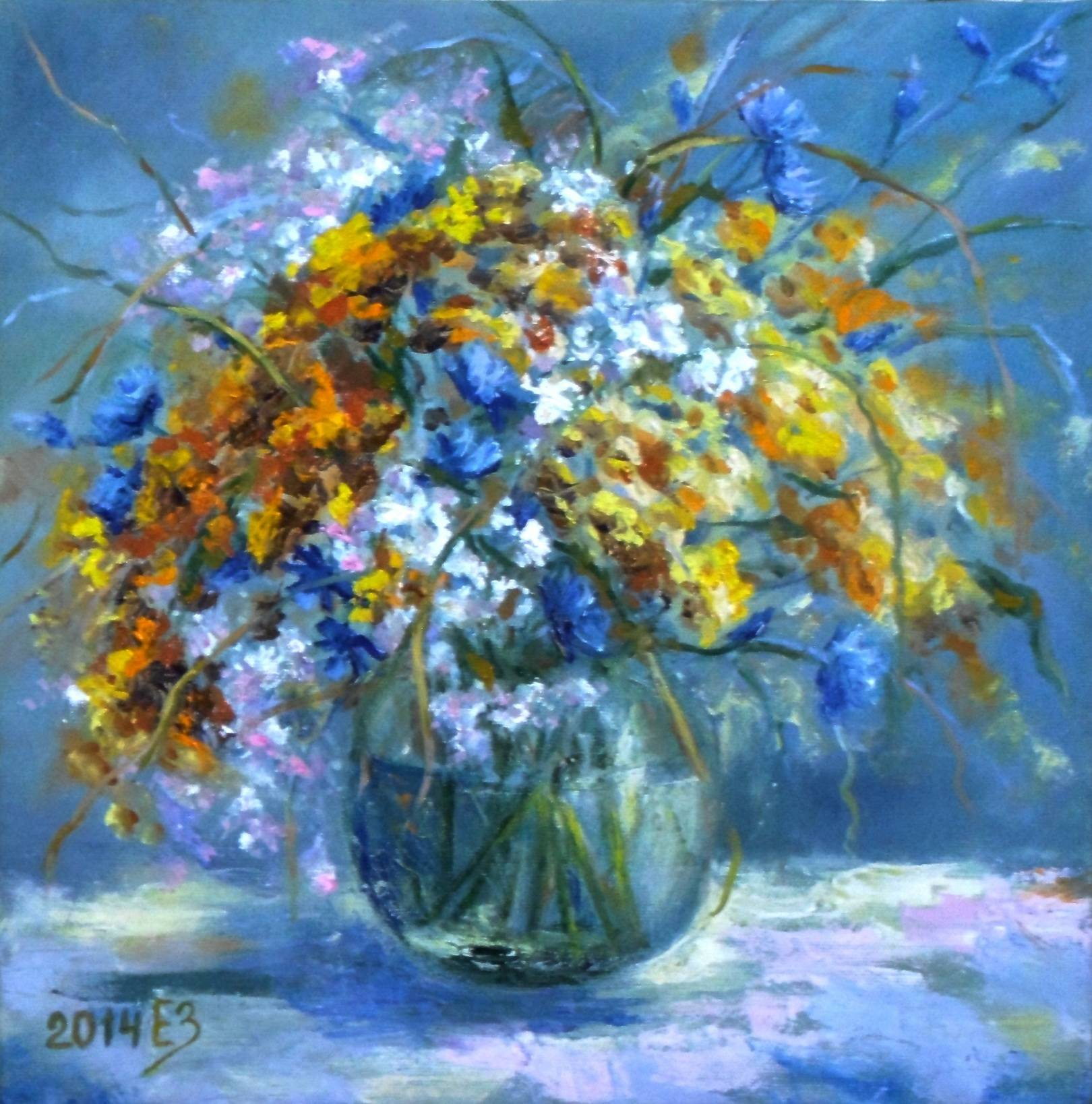 Полевые цветы . 30*30 холст, масло, 2014, новосибирск