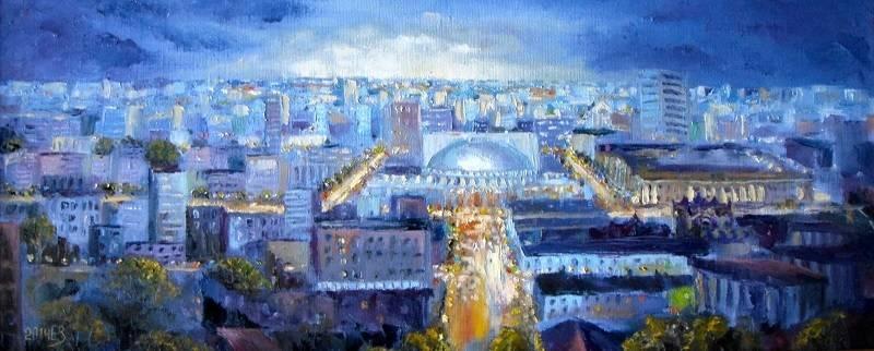 Ночь и тишина. 34*82 холст, масло, 2014 Новосибирск