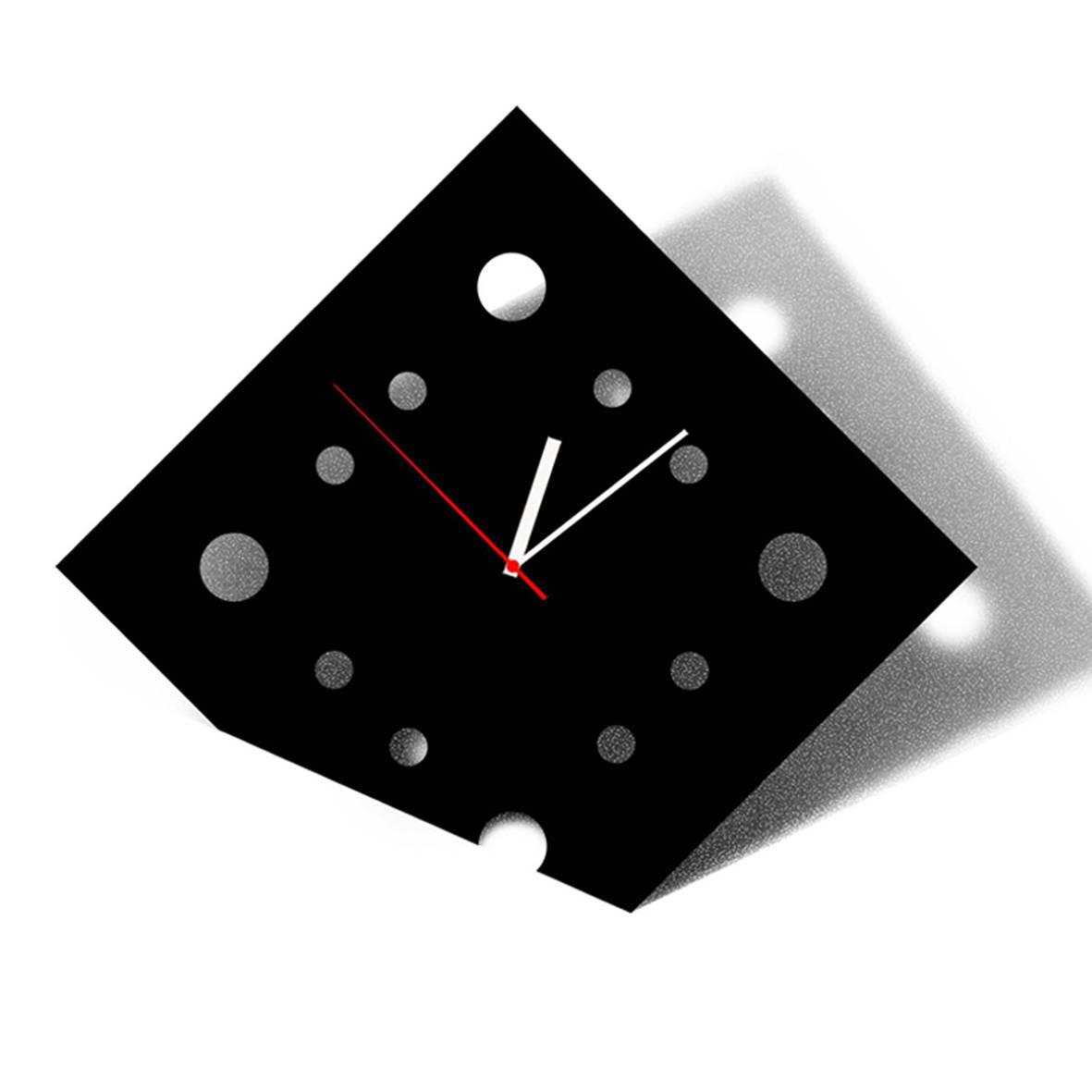 """Часы настенные """"Черный квадрат"""". Пластик."""