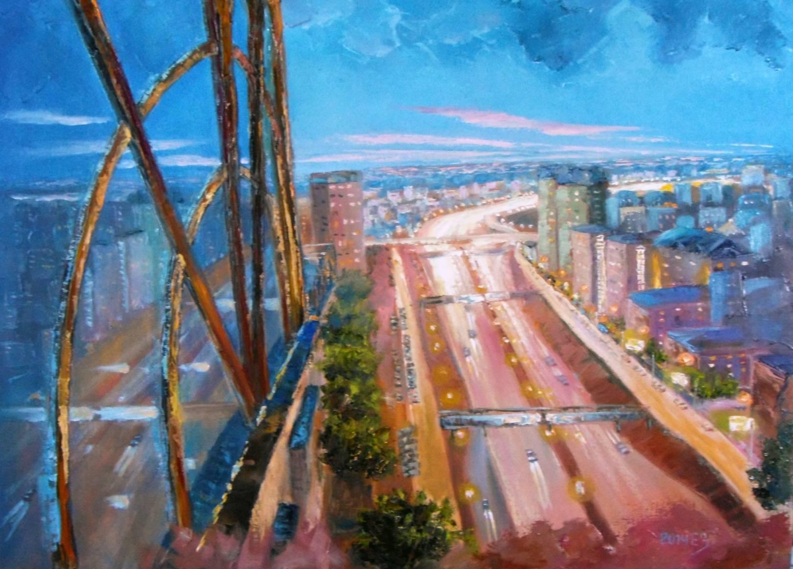 Город тихо засыпает 50*70 х,м, 2014 Новосибирск