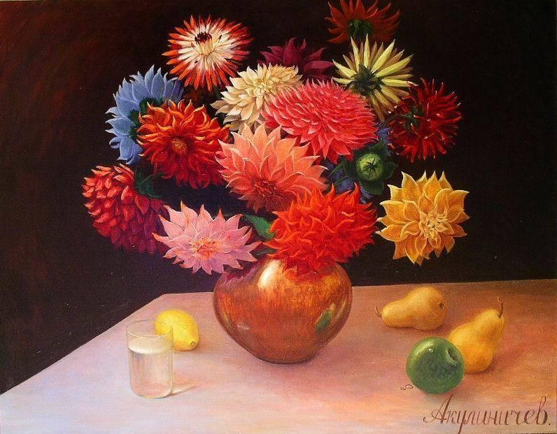 Далии и фрукты, 80х100, х-м, 1993г