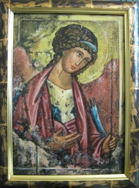 Святой архангел Михаил (холст,масло.лак-патина,кракелюр)-художник Ядвига Сенько