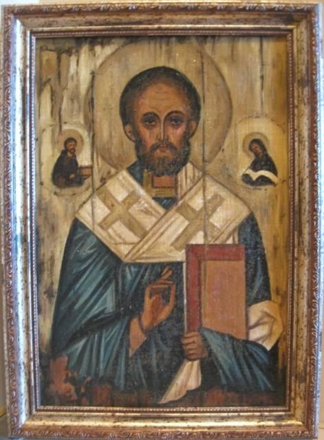 Св.Николай чудотворец (холст,масло,лак-патина,кракелюр)-художник Ядвига Сенько