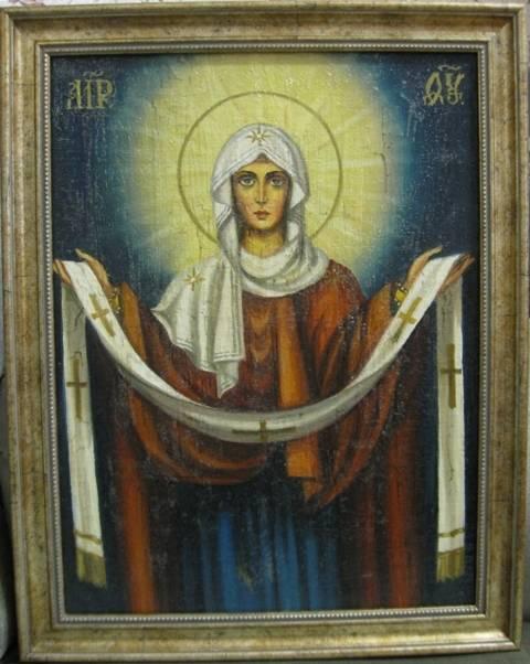 Покров Пресвятой Богородицы (холст,масло,лак-патина,кракелюр)-художник Ядвига Сенько
