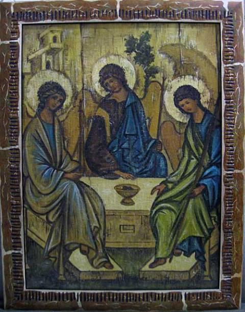 Святая Троица (холст,масло,лак-патина,кракелюр)-художник Ядвига Сенько