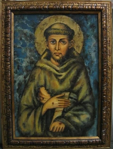 Св.Франциск Ассизский (холст,масл,лак-патина,кракелюр)-художник Ядвига Сенько