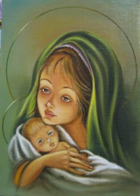 Мадонна с младенцем (холст,масло)-художник Ядвига Сенько