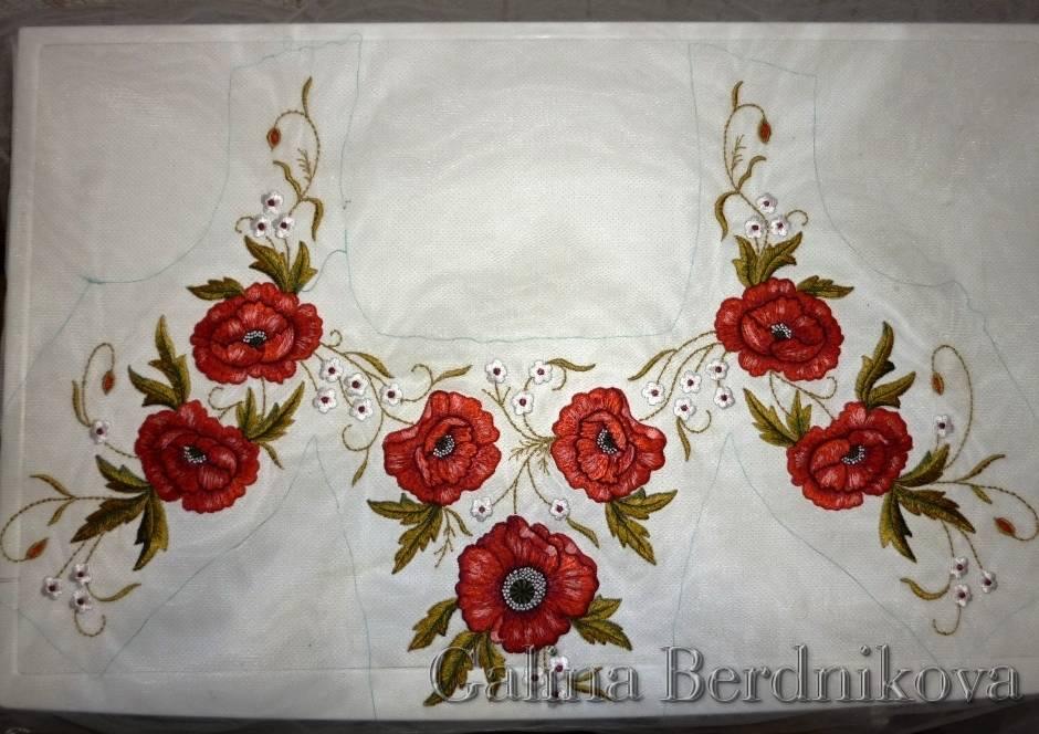 вышивка свадебного платья в этническом стиле в крое