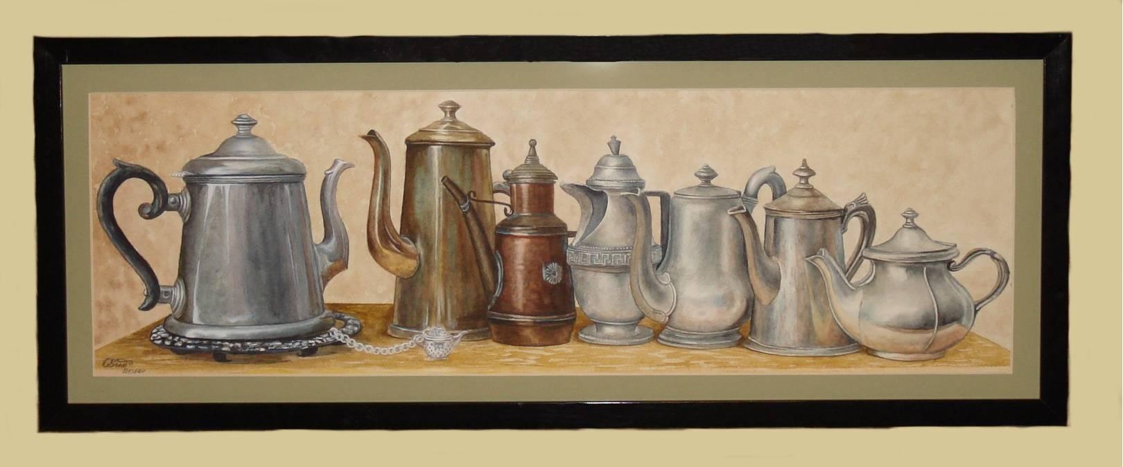 Антикварные чайнички (акварель) 25х70